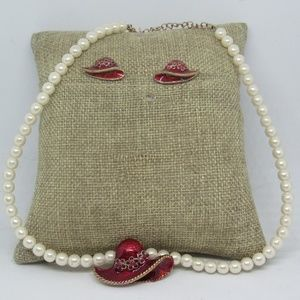 Vintage Red Hat Society Faux Pearl Necklace Sets